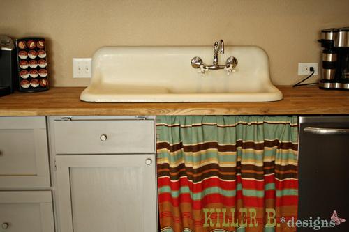 Vintage cast iron farmhouse sink.