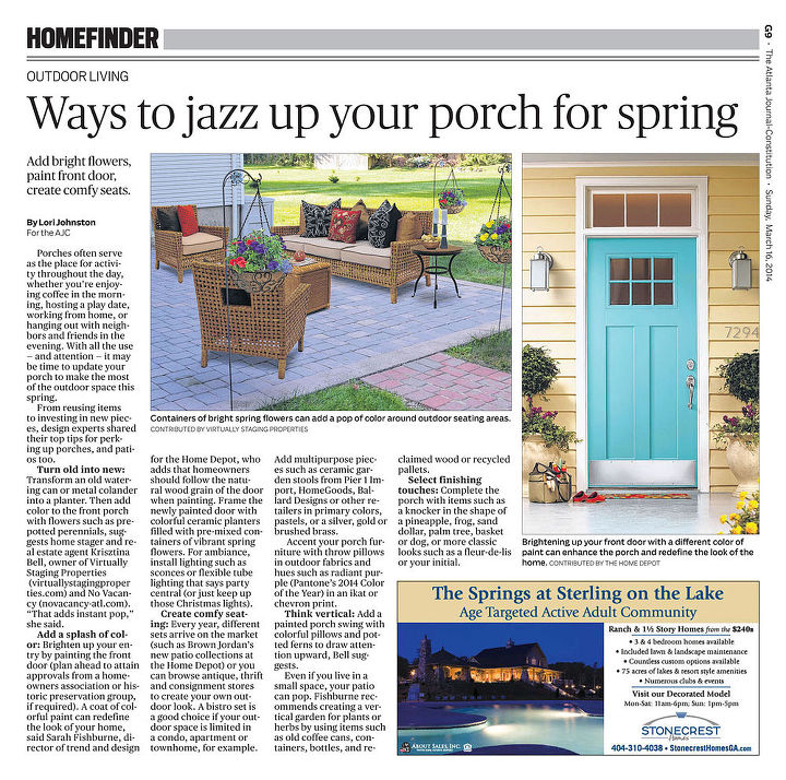 how to jazz up the porch for spring, outdoor living, porches, seasonal holiday decor, Photo courtesy of AJC VSP
