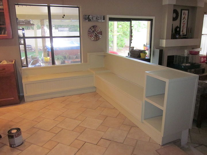 l shaped bench with under seat storage, painted furniture, storage ideas, woodworking projects