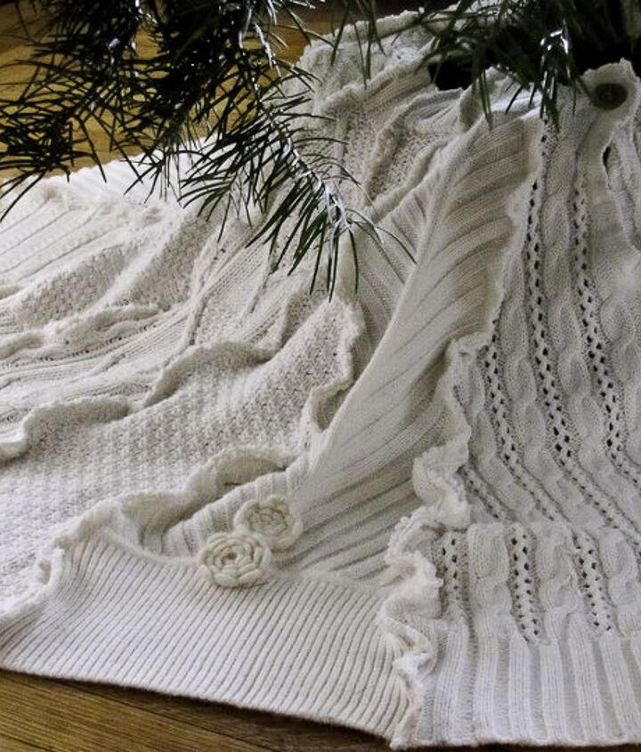 sweater tree skirt, christmas decorations, repurposing upcycling, seasonal holiday decor