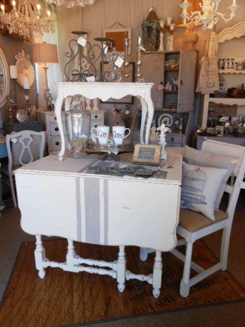 grain sack drop leaf table, painted furniture