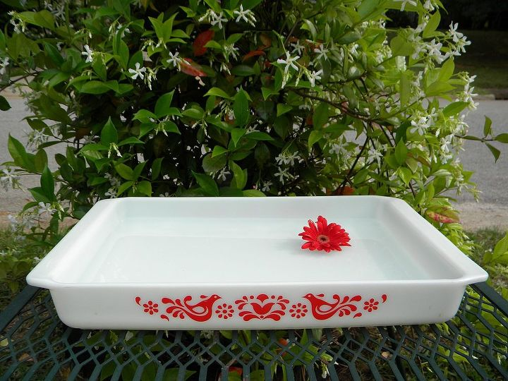 My Version - Vintage Pyrex Friendship Dish Bird Bath