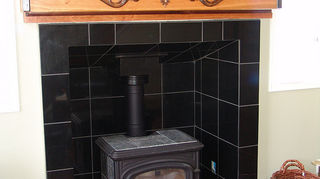 removing a wood burning stove, concrete masonry, living room ideas, granite surround