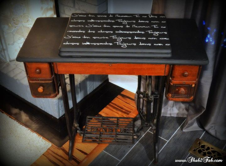 Antique Sewing Machine Makeover ReLoved with French Script Stencil