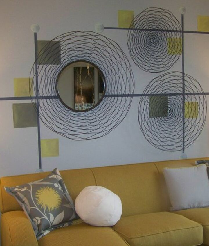 Geometric pattern I created for designer Angela Hogan.  I like how her placement of the mirror connects with the painted line.