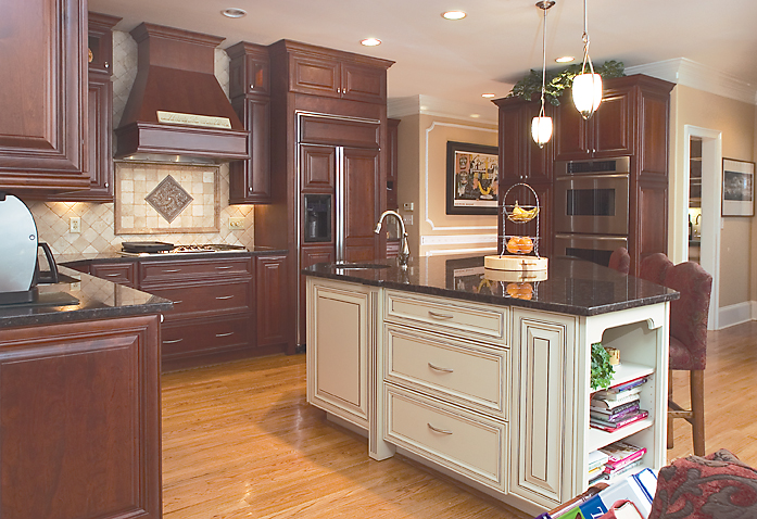 Cooktop, Double Oven & Warming Drawer all by Thermador! The refrigerator is by GE Monogram with Omega cabinetry panels.
