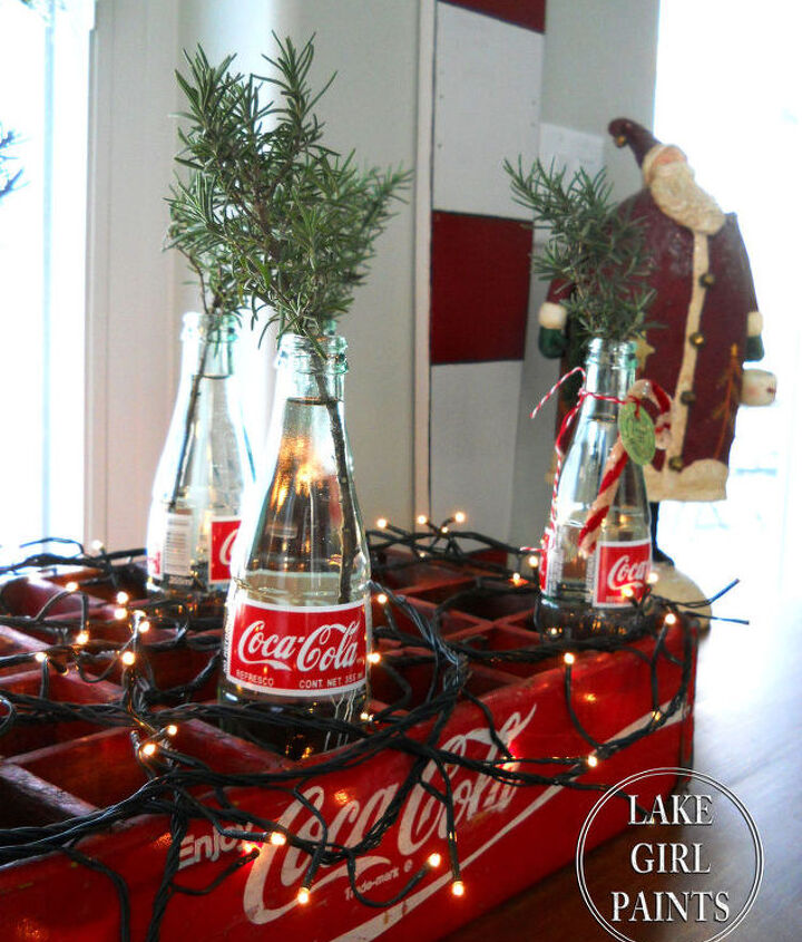 rosemary clippings in cola bottles for christmas, christmas decorations, seasonal holiday decor