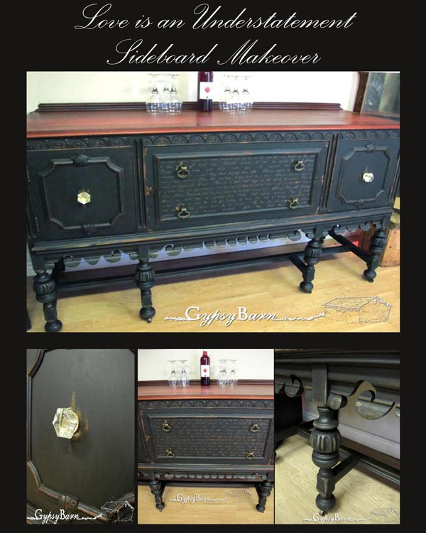 sideboard makeover love is an understatement, home decor, painted furniture, Collage of the final product