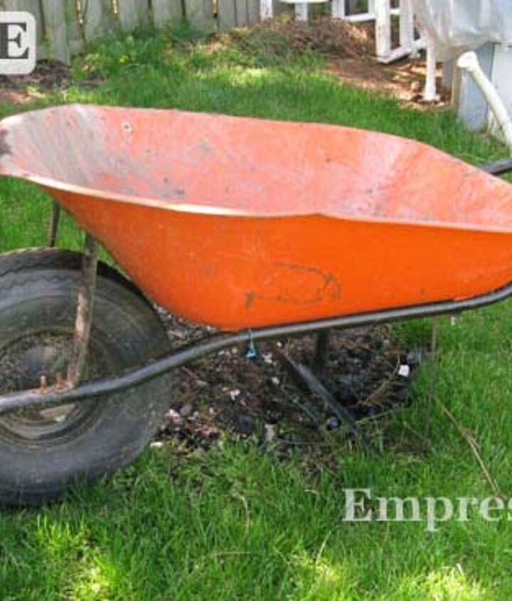 It's a good, deep wheelbarrow with an everlasting wheel, but the 1970s orange colour was not working for me.