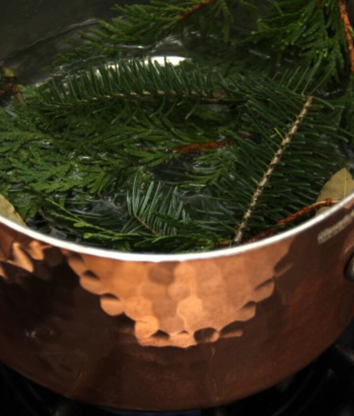 Here is the cedar, balsam and bay leaves simmering. The kitchen smells great!