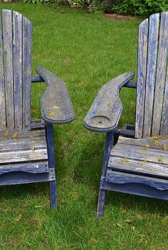 curbside chairs become favorite parent hangout, outdoor furniture, outdoor living, painted furniture, repurposing upcycling
