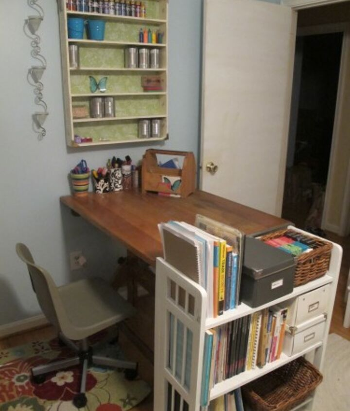 I love the way this drafting table is perpendicular to the wall. It helps to create a more definite crafting area back in this part fo the room, since hubby needs the other part for work.