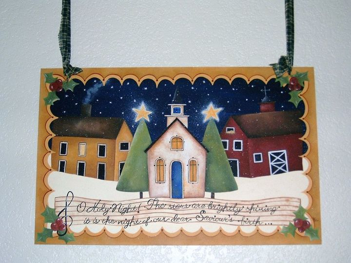 Holy Night Town by GranArt. This is painted on a wood drawer insert using acrylic paint and sprayed with acrylic satin finish to seal.