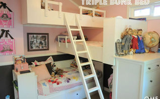 small space living large, bedroom ideas, living room ideas, organizing, storage ideas, The girls room triple bunk bed for all of them to fit nicely tall ceilings help