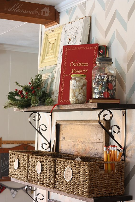 I spruced up the DIY Drop Space with some greenery, jars of buttons and Christmas books.