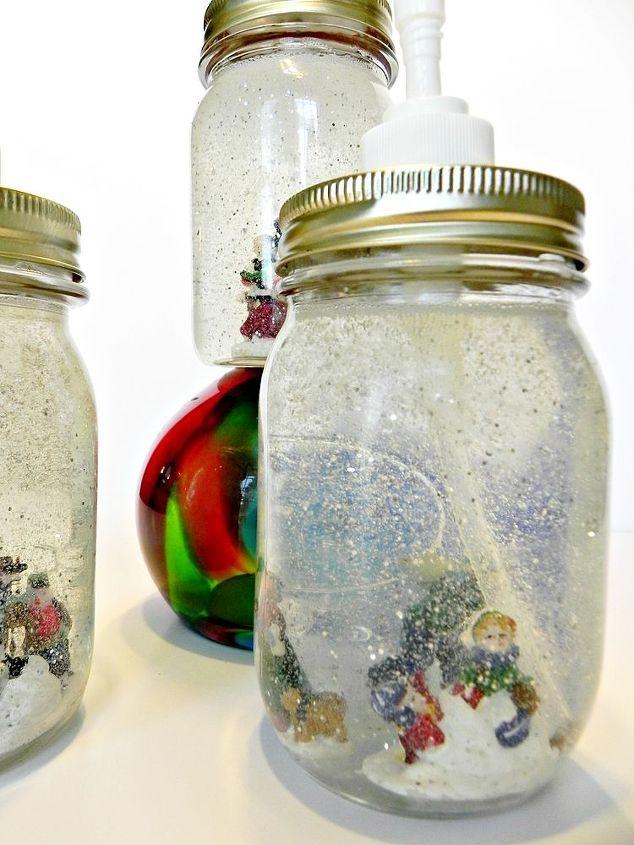 They still function as soap dispensers.  http://www.madincrafts.com/2012/12/dollar-store-mason-jar-snow-globe-soap.html