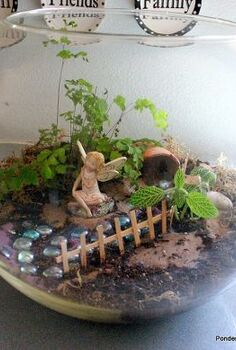 what is it about these tiny little fairy gardens that is so appealing, gardening, home decor, terrarium, I used a very large round fish bowl we ve had forever