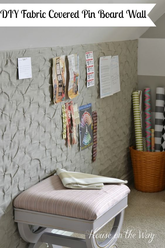 how to make a diy fabric covered pin board wall for less than 25, crafts, reupholster, wall decor, DIY Fabric Covered Pin Board Wall