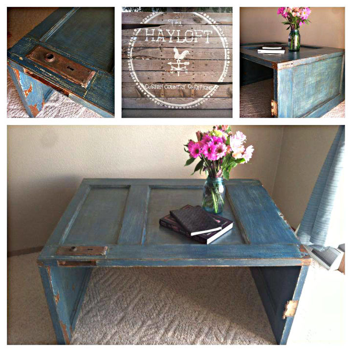 old door coffee table, painted furniture, repurposing upcycling
