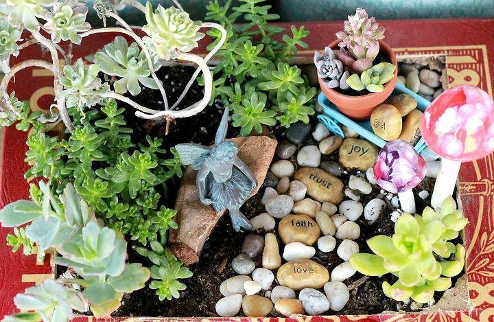 fairy garden, gardening, succulents, AugustGarden