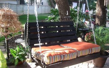pallet swing, diy, pallet, repurposing upcycling, woodworking projects, Hung it and added some pillows