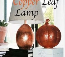 lamp makeover with copper leaf sheets, crafts, lighting, seasonal holiday decor, DIY Copper Leaf Lamp