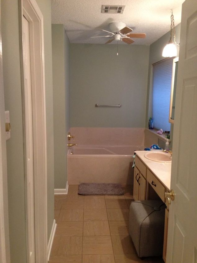 After painting (Sherwin Williams Comfort Gray) and you can see the cabinets before I stained them!