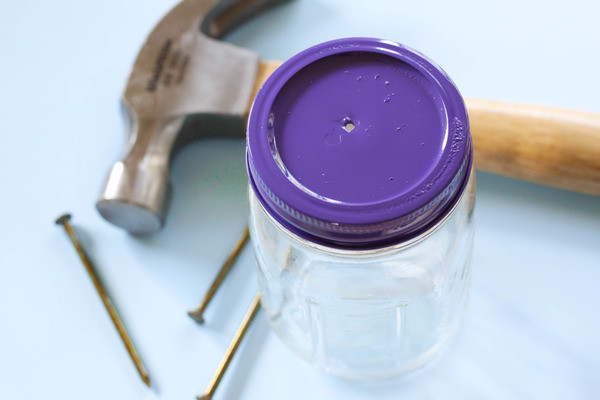make a diy butterfly feeder in 6 easy steps, crafts, mason jars, 2 Using a nail and hammer punch a small hole in the center of the lid A piece of a sponge will need to fit snuggly in the hole so keep it small you can always make it bigger if necessary