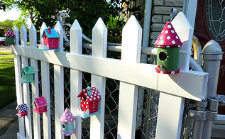 birdhouses dress up a plain picket fence, crafts, fences, outdoor living