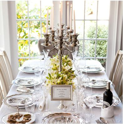 Downton Abbey: Break out the good stuff for a class-act formal dinner party. The room is transformed into the picture of old-world aristocracy. Exquisite china, intricate cut crystal, and ornate flatware sit atop pressed linens.