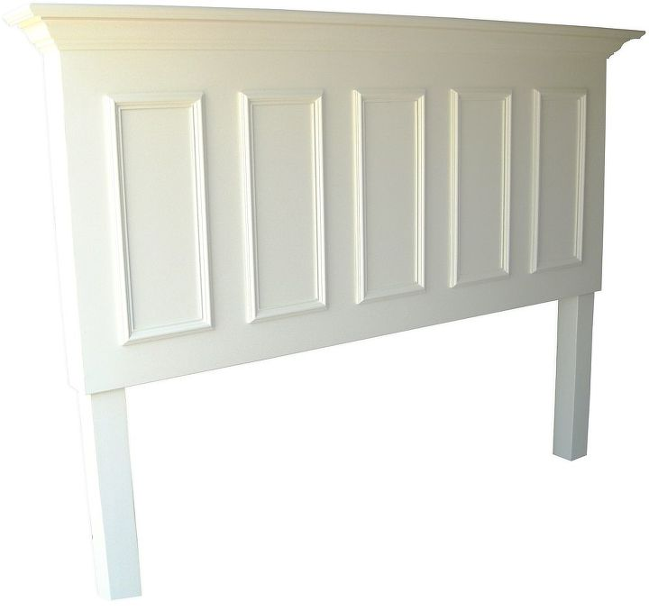 Smooth paneled door converted into a 5 panel king size headboard - painted satin popcorn white.