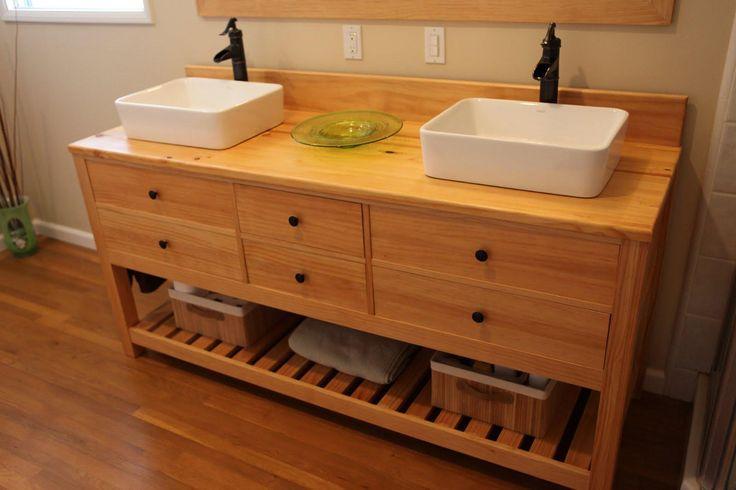 Reclaimed wood bathroom vanity hometalk for Recycled bathroom sinks