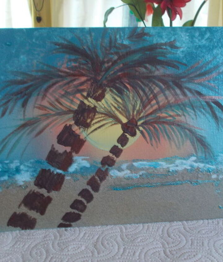 practicing my palm trees with acrylic paints