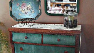 estate sale treasure antique empire style hotel sideboard, home decor, painted furniture, This vignette in my dining room includes an old wooden mirror and tole tray and the four drawer dresser Love the deep drawers for storing linens candle off season pillows etc
