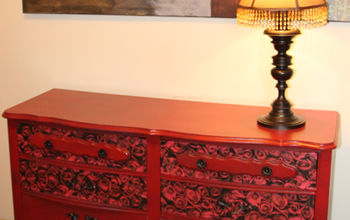 how to decoupage dresser drawer fronts, painted furniture