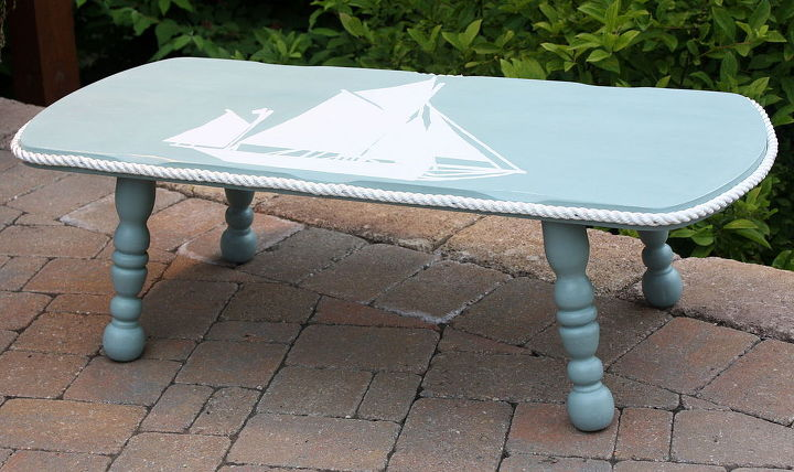 nautical themed coffee table makeover, chalk paint, painted furniture