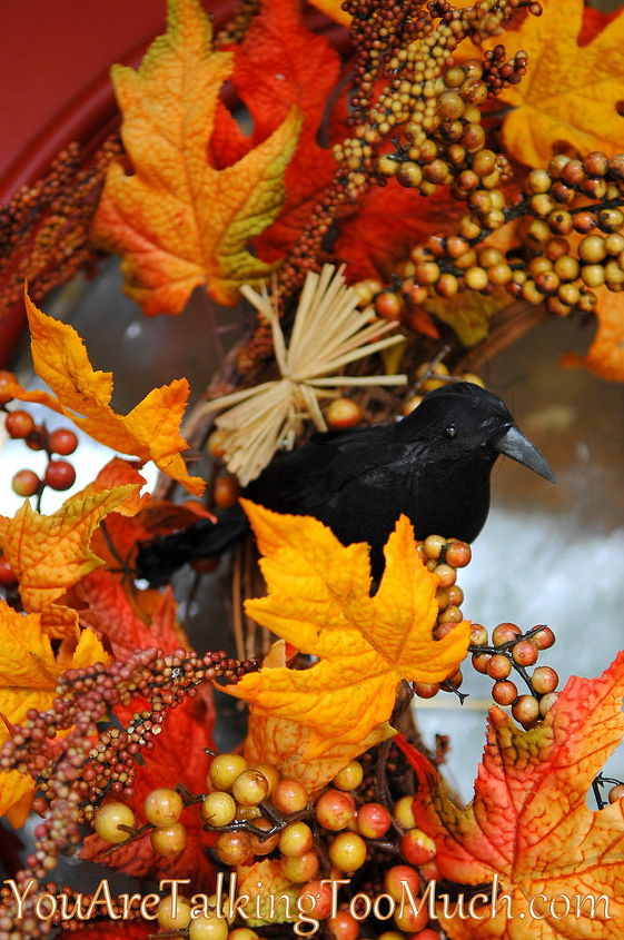 Dollar Tree raven added to fall wreath.