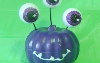 monster pumpkin for halloween, crafts, halloween decorations, seasonal holiday decor, A cute and colorful way to bring monsters into your Halloween decor