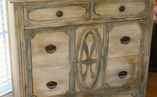 layering paint on a dresser, painted furniture, Blues to outline and light and dark wax to achieve this old look