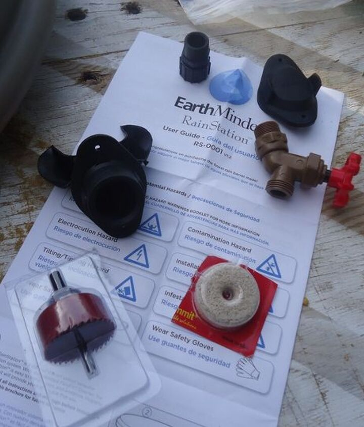 parts that came with EarthMinded's rain barrel kit.