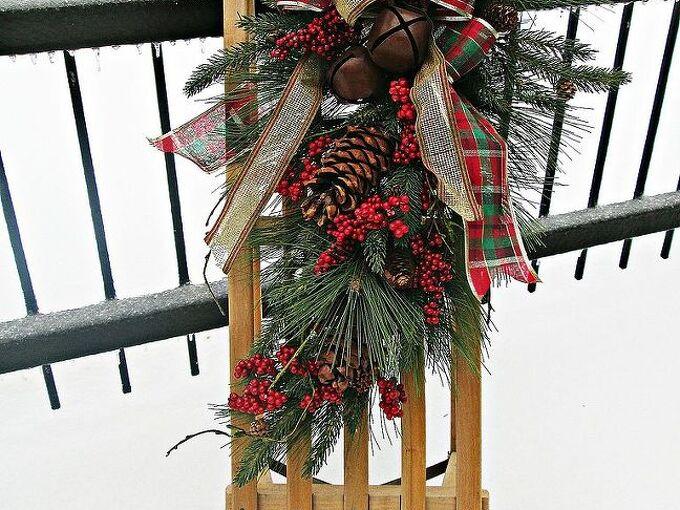 the christmas sled, christmas decorations, seasonal holiday decor