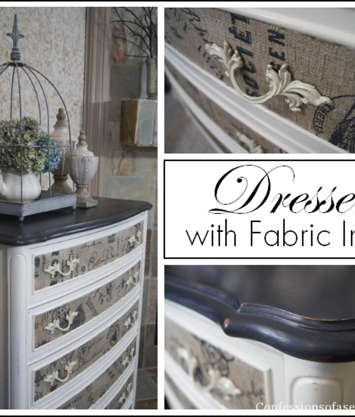 I transformed this dresser with chalk paint and fabric!
