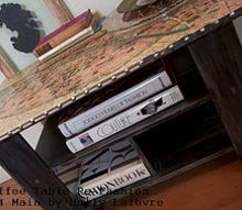 mdf coffee table to parisian chic accent table, home decor, painted furniture, reupholster, Another shot I love the metallic finish