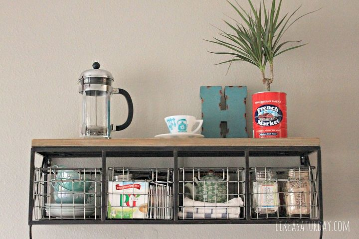 colorful farmhouse vintage coffee bar, home decor, painted furniture, repurposing upcycling