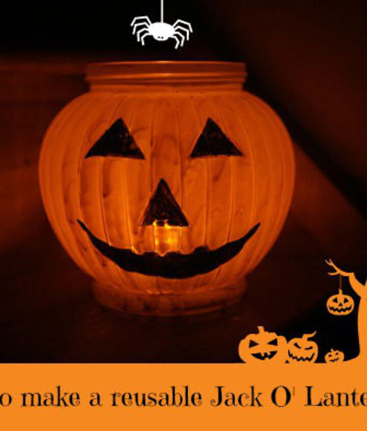 make reusable jack o lantern using glass flower vase or bowl, crafts, seasonal holiday decor