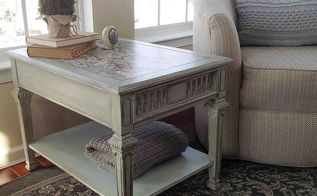 10 table upcycled with mod podge chalk paint, chalk paint, home decor, living room ideas, painted furniture, Decoupage and chalk painted table