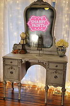 miss hollywood chalk painted vanity, chalk paint, painted furniture, Miss Hollywood Chalk Painted Vanity Using Shabby Paints Ice Chalked Paint Pearl reVAX black reVAX