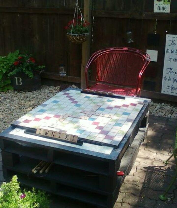 Scrabble board on my pallet table
