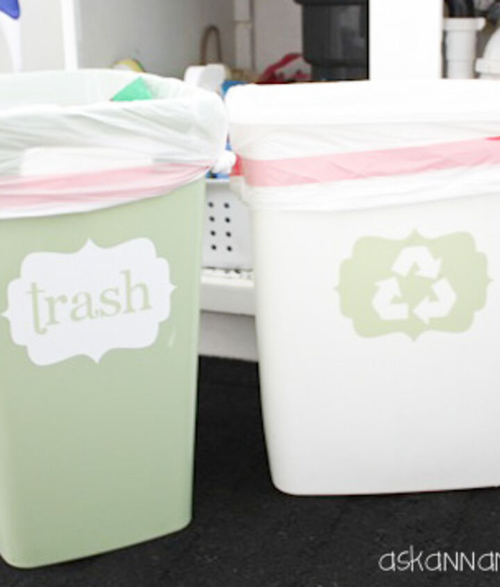 I made the labels for my trash and recycling cans with my Silhouette. They were easy to make and free!