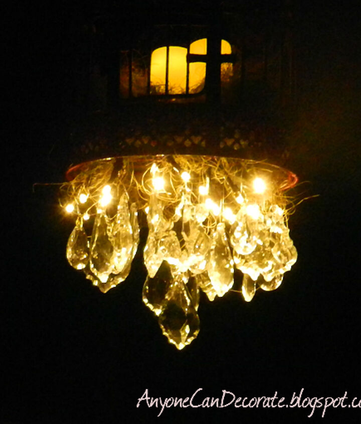 Battery operated Chandelier that I made turned on at night...  Sparkles brilliantly through the crystal prisms.